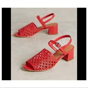 Naguisa Red Leather Heeled Sandals Size 36